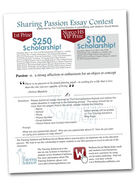 Share Your Passion Essay Scholarship Contest with The Tutoring Solution