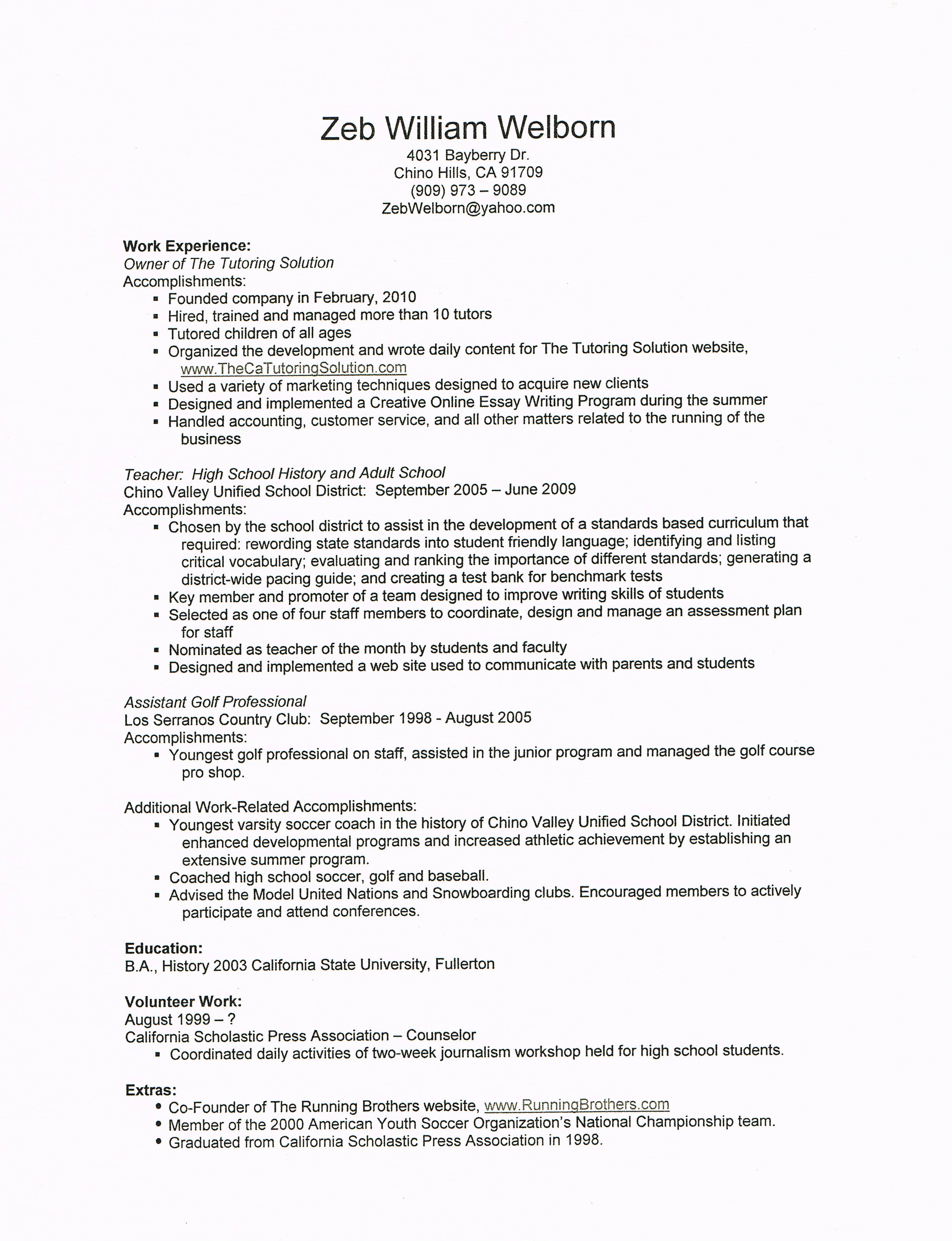 Private Tutor Resume Examples