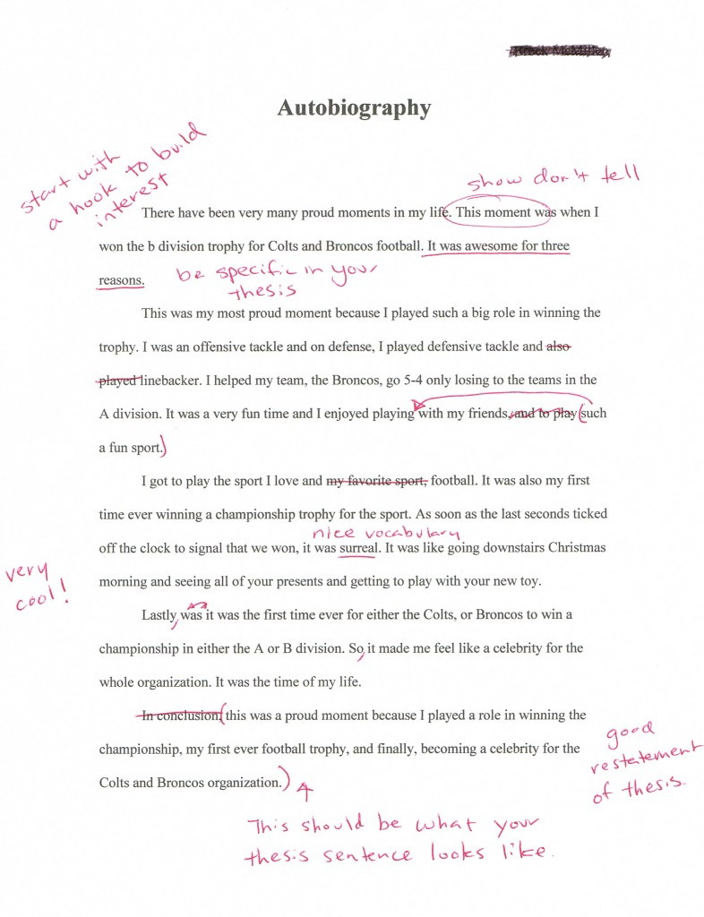 Autobiography Essays Brock From California S Second Feedback Sample