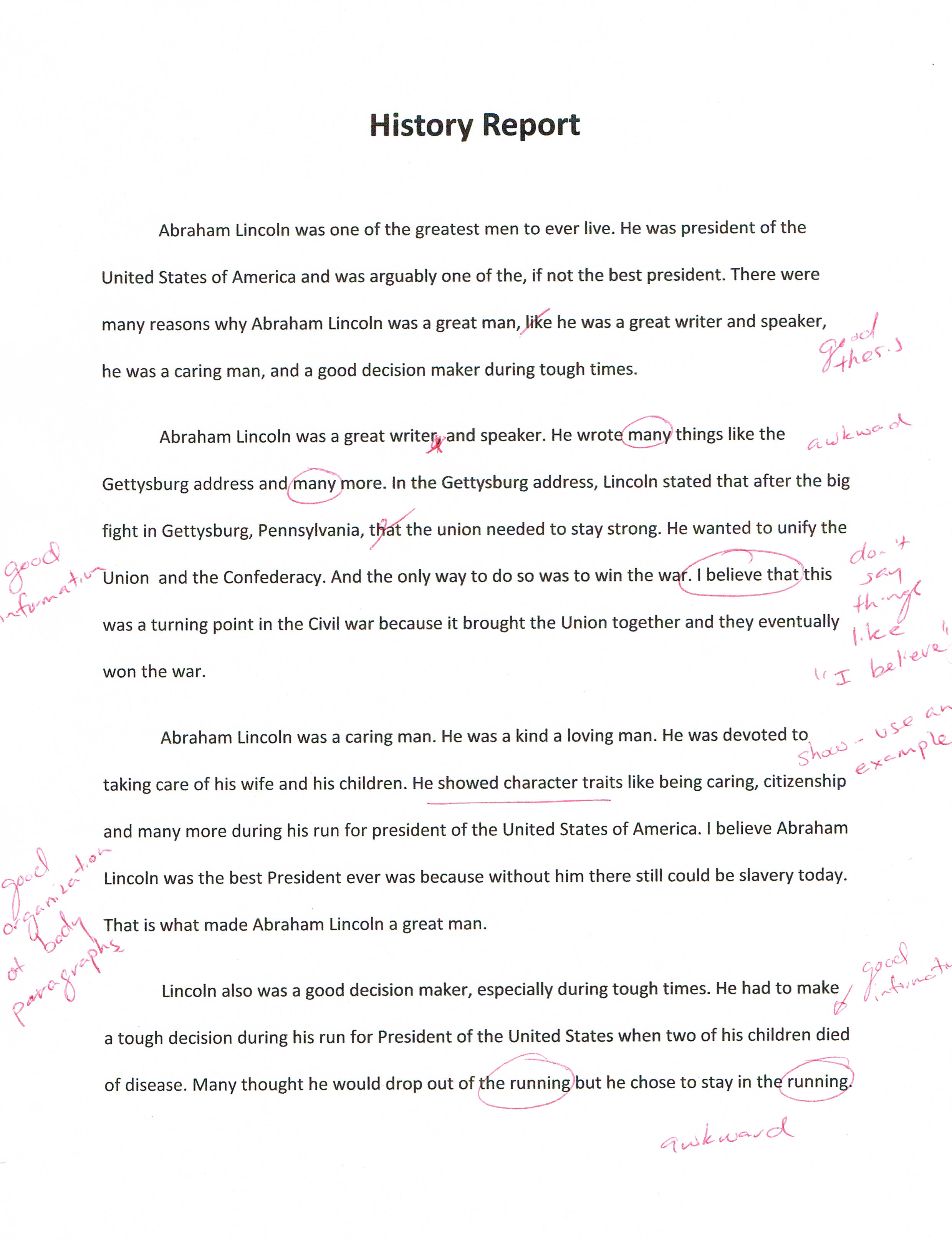Examples of one paragraph essay