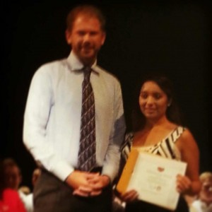 Zeb Welborn Giving Alexandra Robledo the Share Your Passion Scholarship at the Norco High School Senior Awards Ceremony